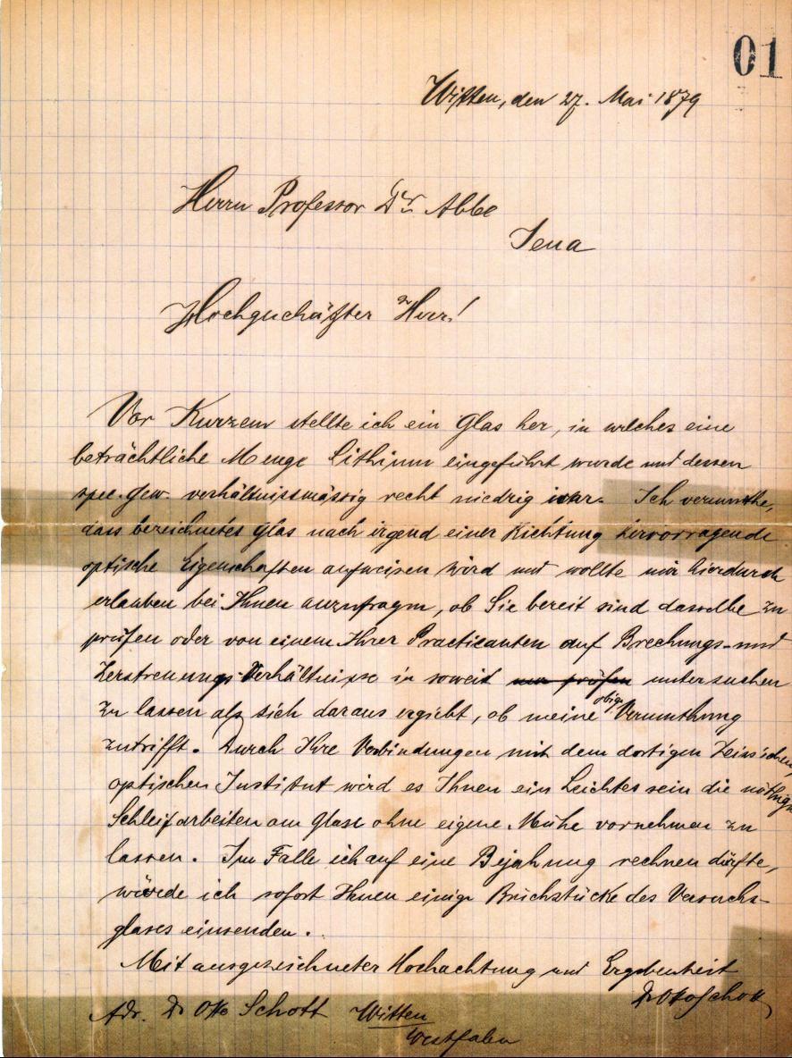 Erster Brief von Otto Schott an Ernst Abbe