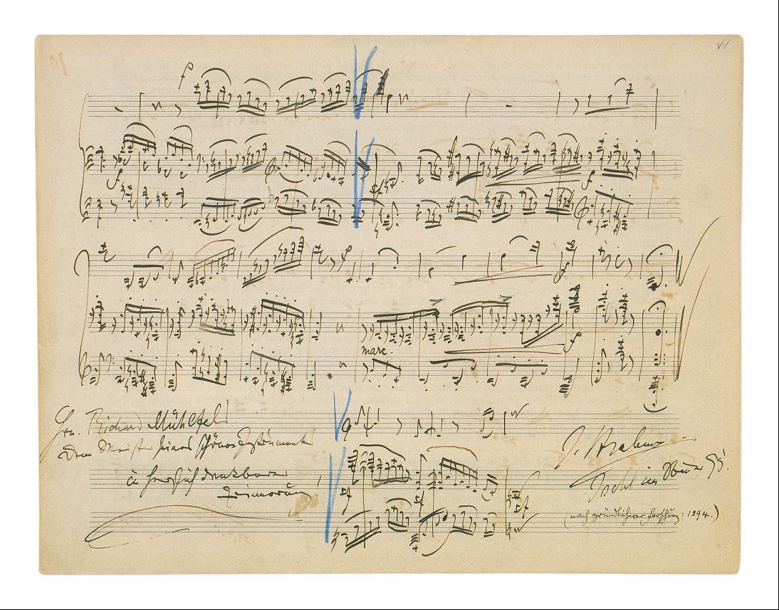 Brahms-Autograf der Sonate für Klarinette und Klavier op. 120