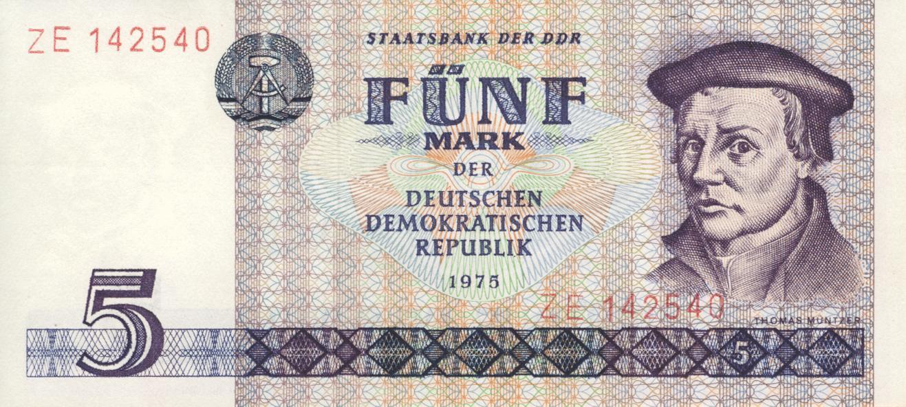 Fünf-Markschein der DDR