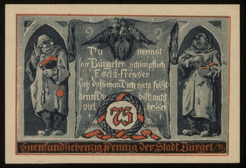 Notgeld - 75 Pfennig Bürgel