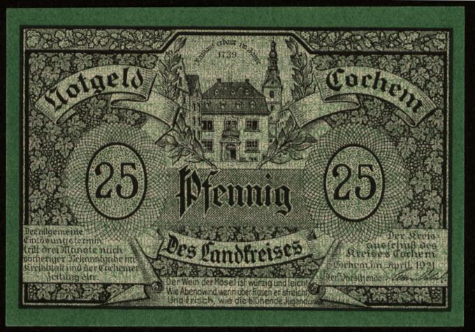 Notgeld - 25 Pfennig Cochem