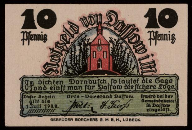 Notgeld - 10 Pfennig Dassow