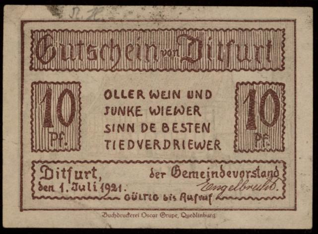 Notgeld - 10 Pfennig Ditfurt
