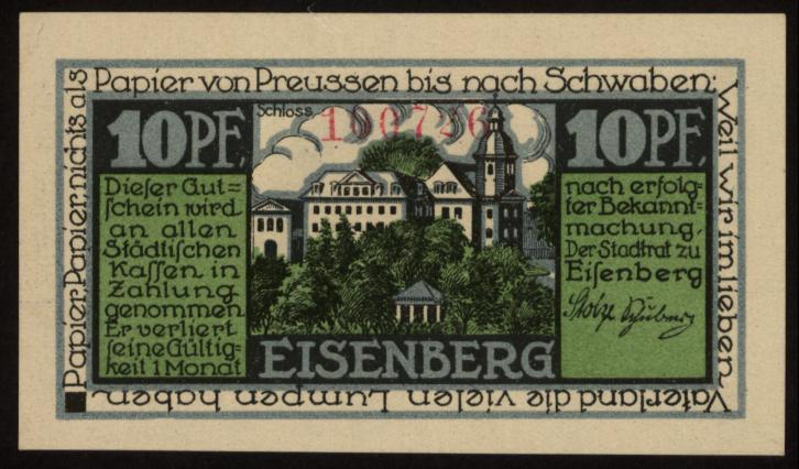 Notgeld - 10 Pfennig Eisenberg