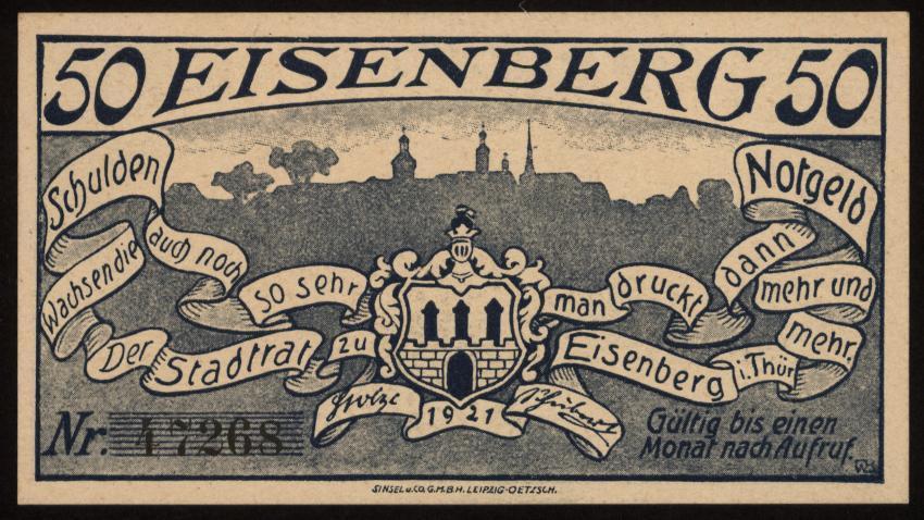 Notgeld - 50 Pfennig Eisenberg