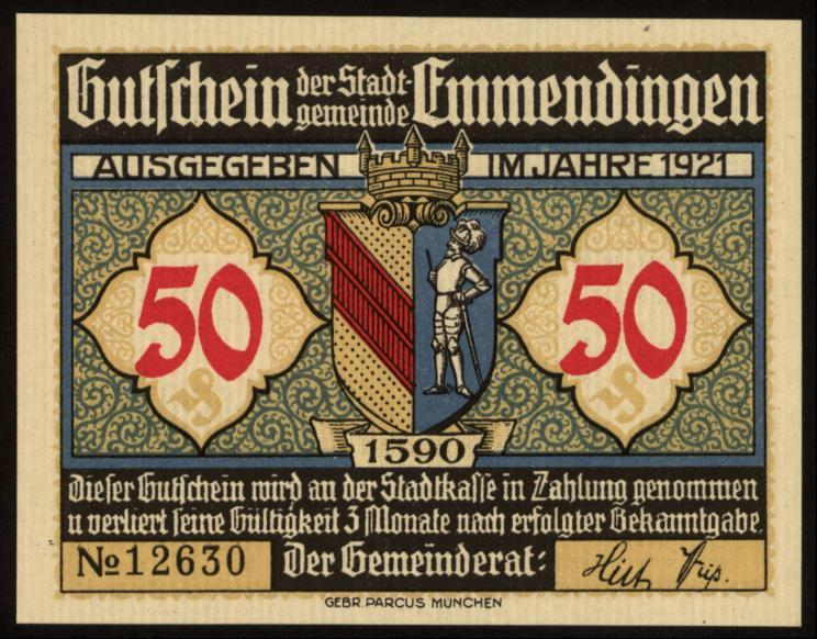 Notgeld - 50 Pfennig Emmendingen