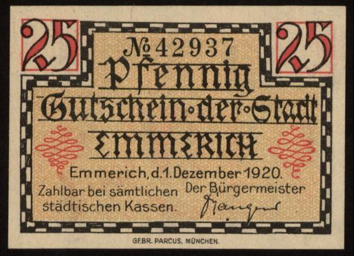 Notgeld - 25 Pfennig Emmerich