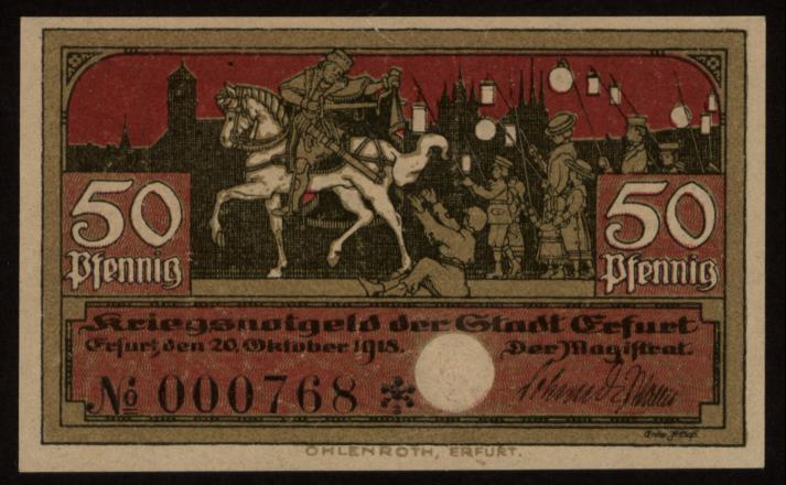 Notgeld - 50 Pfennig Erfurt
