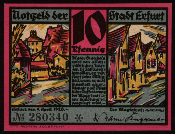 Notgeld - 10 Pfennig Erfurt
