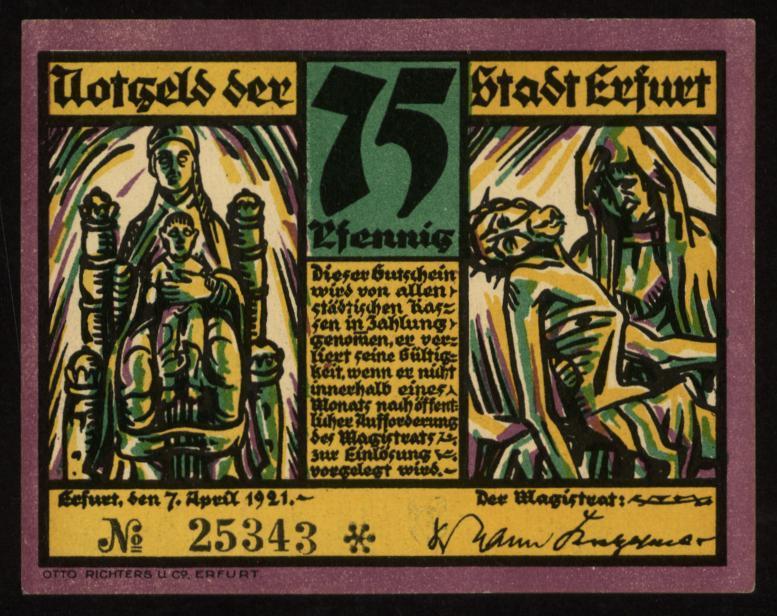 Notgeld - 75 Pfennig Erfurt