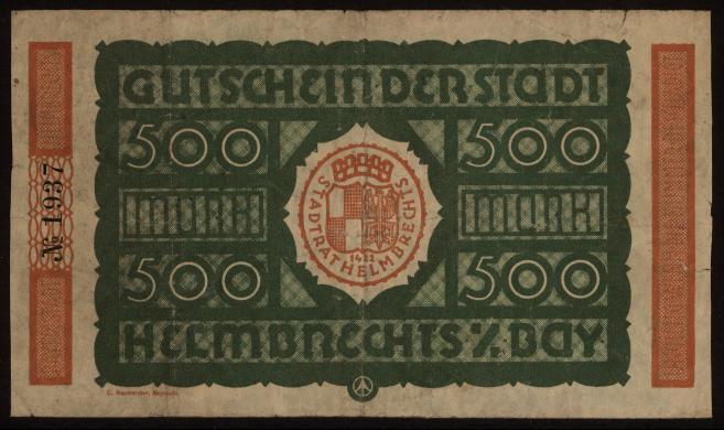 Notgeld - 500 Mark Helmbrechts