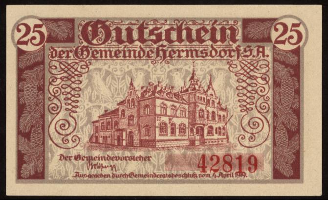 Notgeld - 25 Pfennig Hermsdorf