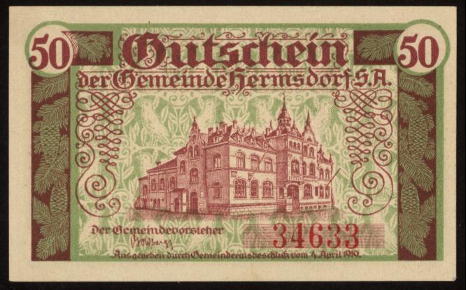 Notgeld - 50 Pfennig Hermsdorf