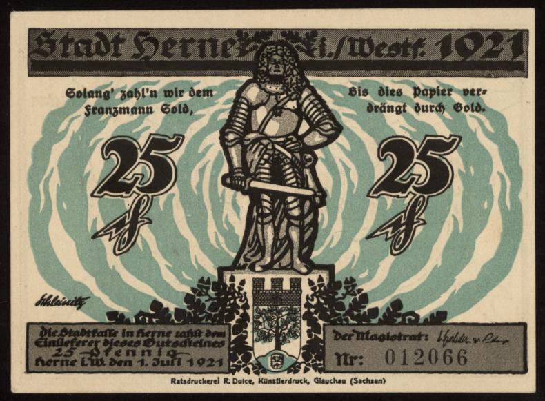 Notgeld - 25 Pfennig Herne