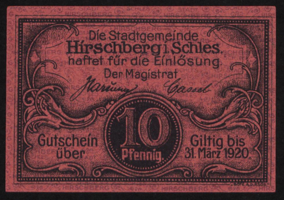 Notgeld - 10 Pfennig Hirschberg