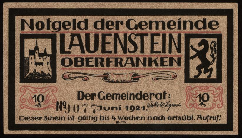 Notgeld - 10 Pfennig Lauenstein