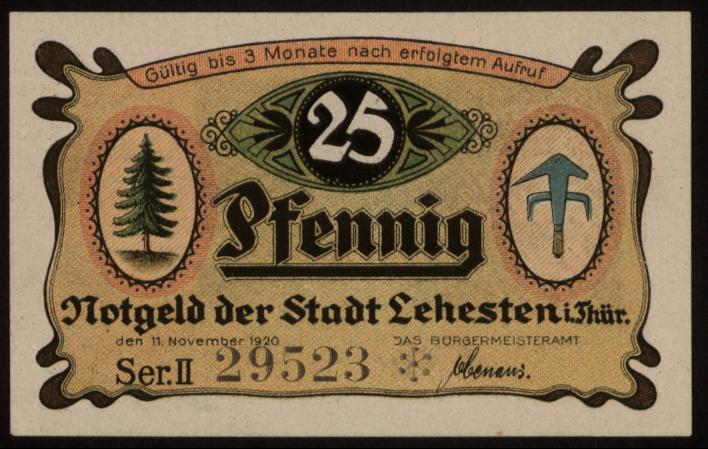Notgeld - 25 Pfennig Lehesten