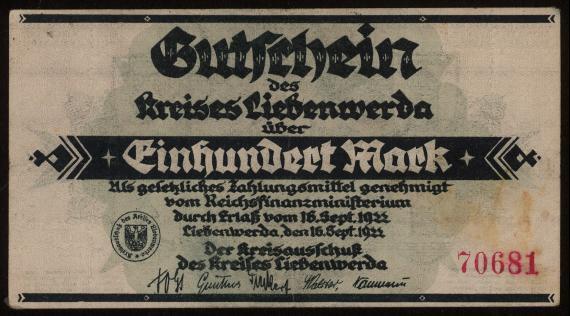 Notgeld - 100 Mark Liebenwerda