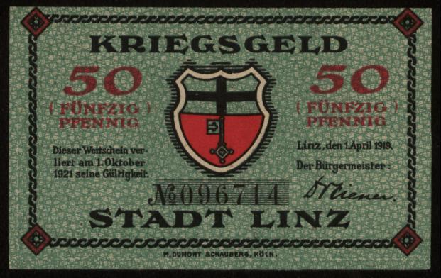 Kriegsgeld der Stadt Linz