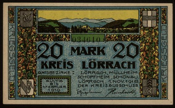 Notgeld - 20 Mark Lörrach