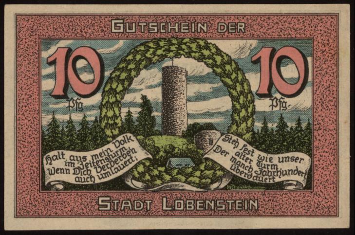 Notgeld - 10 Pfennig Lobenstein