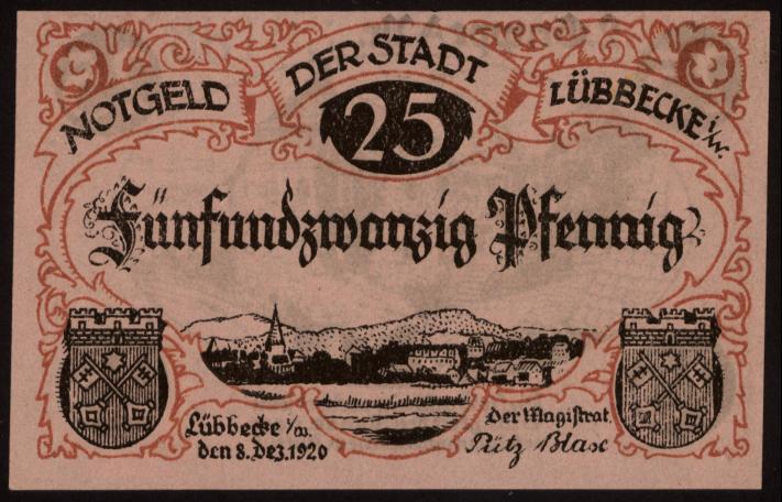 Notgeld - 25 Pfennig Lübbecke