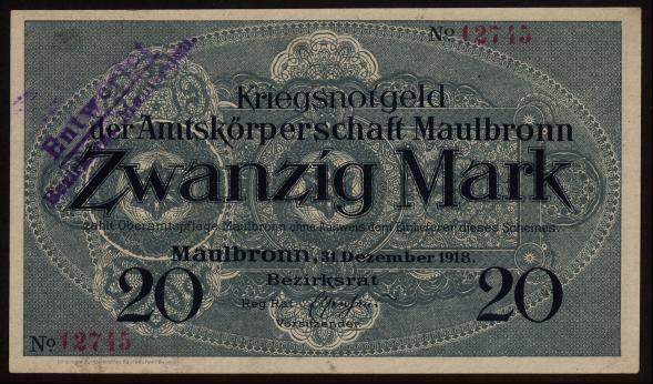 Notgeld - 20 Mark Maulbronn