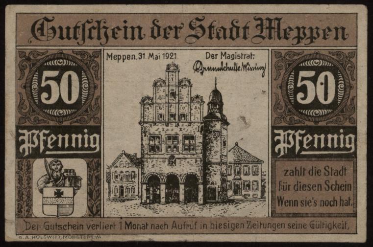 Notgeld - 50 Pfennig Meppen