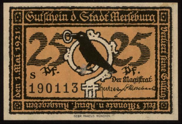 Notgeld - 25 Pfennig Merseburg
