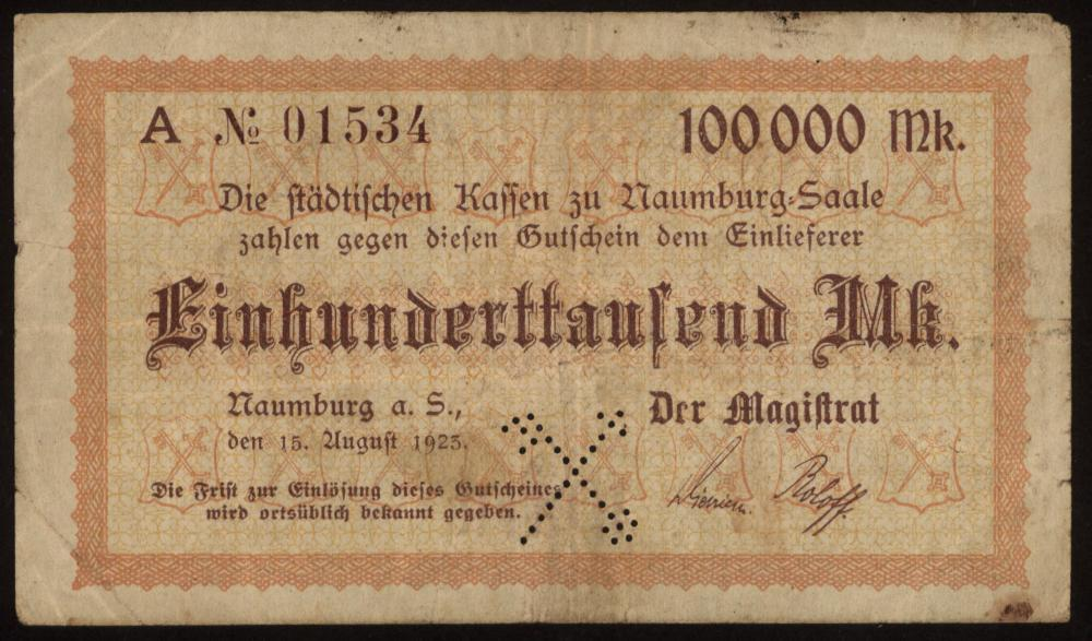 Notgeld - 100.000 Mark Naumburg