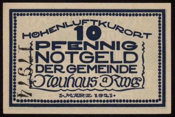 Notgeld - 10 Pfennig Neuhaus