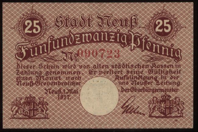 Notgeld - 25 Pfennig Neuß