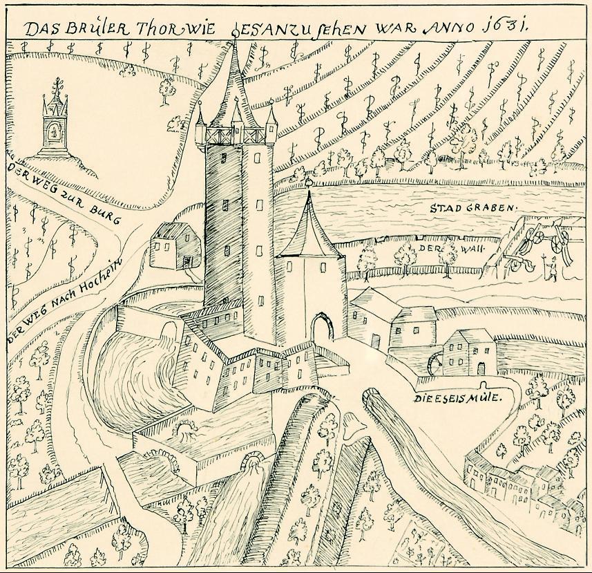 Ansicht aus der Chronik des Samuel Fritz: äußeres Brühler Tor mit Torturm, links das Sibyllentürmchen.