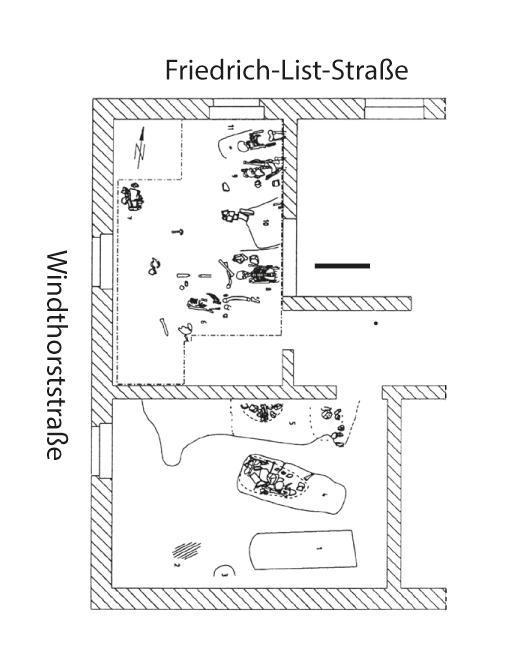 Gesamtplan der Bestattungen in den Kellern.