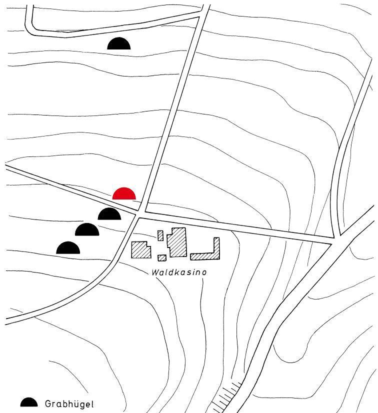 Von den auf dem Plan eingetragenen Hügeln am Kasino ist heute nur noch einer erhalten.