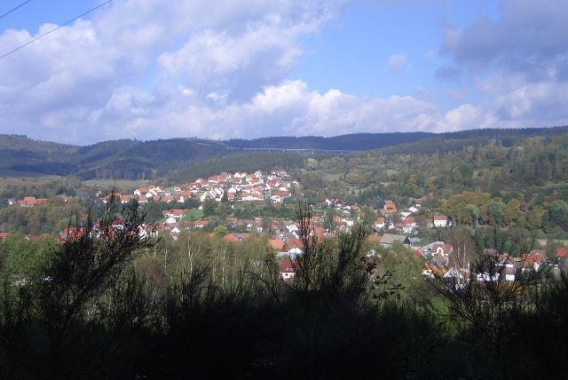Blick vom Grabhügel in Richtung Ringberg und Thüringer Wald.