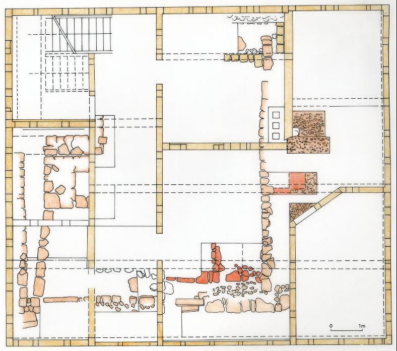 Bauphasenplan nach Altwein. Legende: rot = Bau 13./14. Jh.; hellrot = Bau, 1634 abgebrannt; braun = Bau, 1648 errichtet.