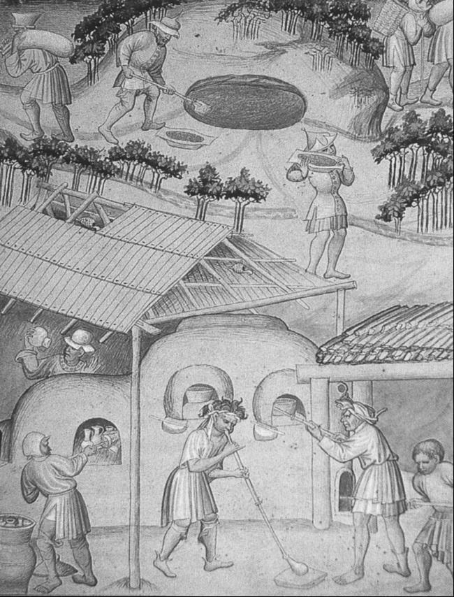 Mittelalterliche Glashütte. Miniatur des frühen 15. Jahrhunderts als Illustration der Reisebeschreibung von Sir John Mandeville (British Museum, Add MS 24189, fol. 16).