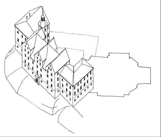 Rekonstruktion des Unteren Schlosses von Greiz um 1600 (nach Löffler 2000).