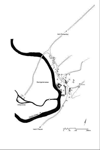 Schloss Dölau. Lageplan von 1753. 1 Schloss, 2 Vorwerk (ehem. Vorburg?), 3 Brauhaus, 4 Wirtshaus, 5 Lustgarten, 6 Baumgarten.