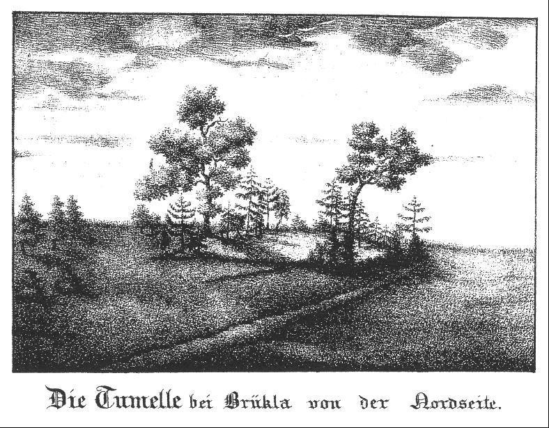 """Alte Ansicht der """"Tumelle"""" aus der Mitte des 19. Jahrhunderts."""