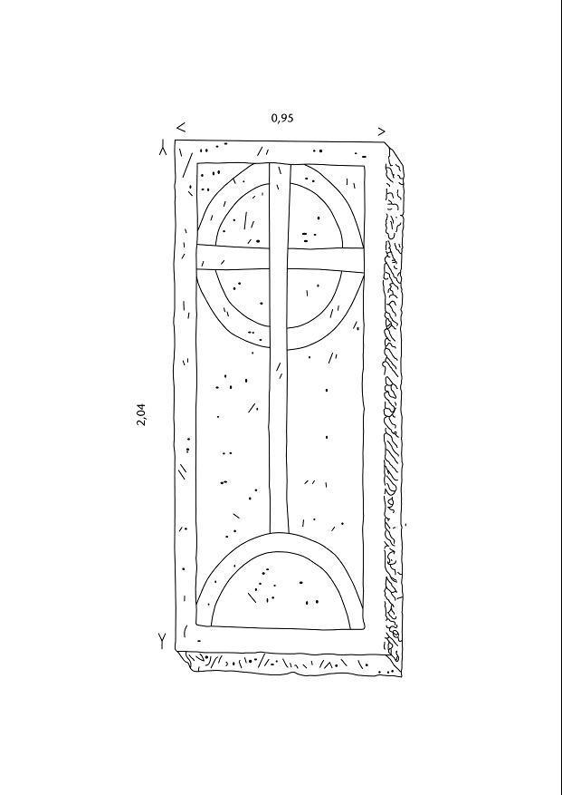 Eine der im Klosterbereich von Cronschwitz gefundenen Grabplatten.