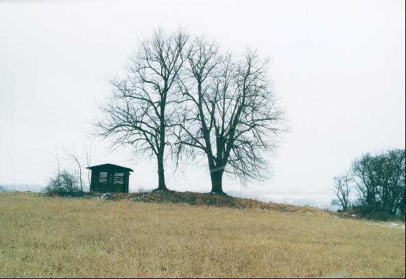 Der Grabhügel von Collis mit der Schutzhütte.