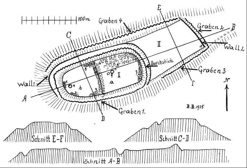 Die Burganlage auf dem Hausberg von Langenberg. Plan nach Brause 1934.