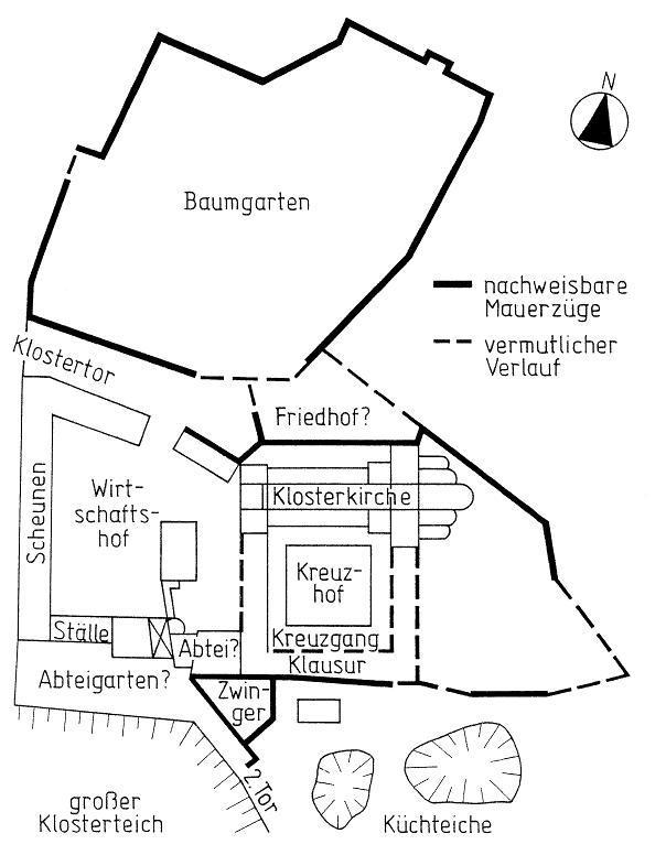 Plan des mittelalterlichen Klosters von Thalbürgel (nach Drafehn/ Wolfram 1990).