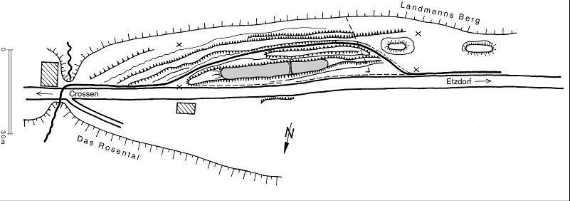 Vermessungsskizze mit den Hohlwegspuren um den Wachthügel (nach W. Schulz).