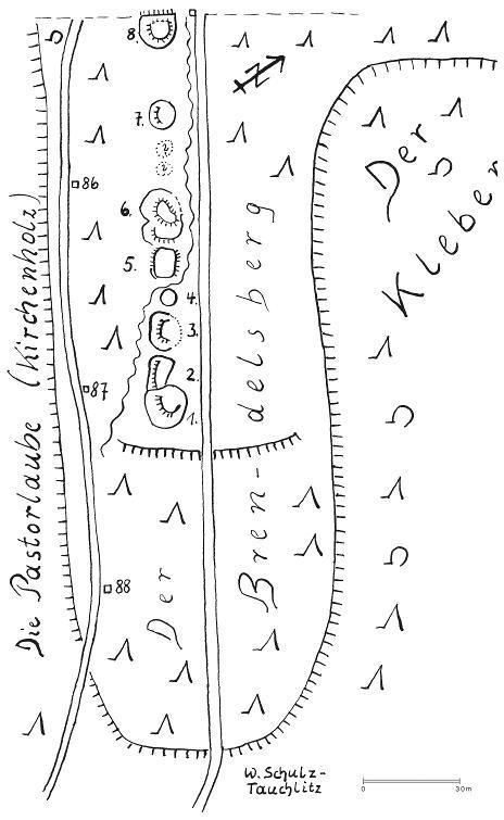 Plan der Grabhügel am Teisker (nach W. Schulz).