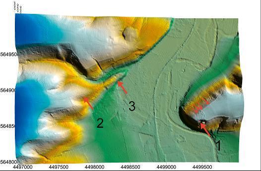 Rechts im digitalen Geländemodell erkennt man noch einen weiteren Wall. 1 - Mühlberg mit Nickelsburg; 2 - Wachthügel Crossen; 3 - Burg Crossen