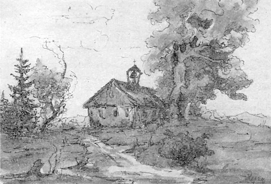 Federzeichnung der Jakobskapelle von Saasa von K. Hegner.