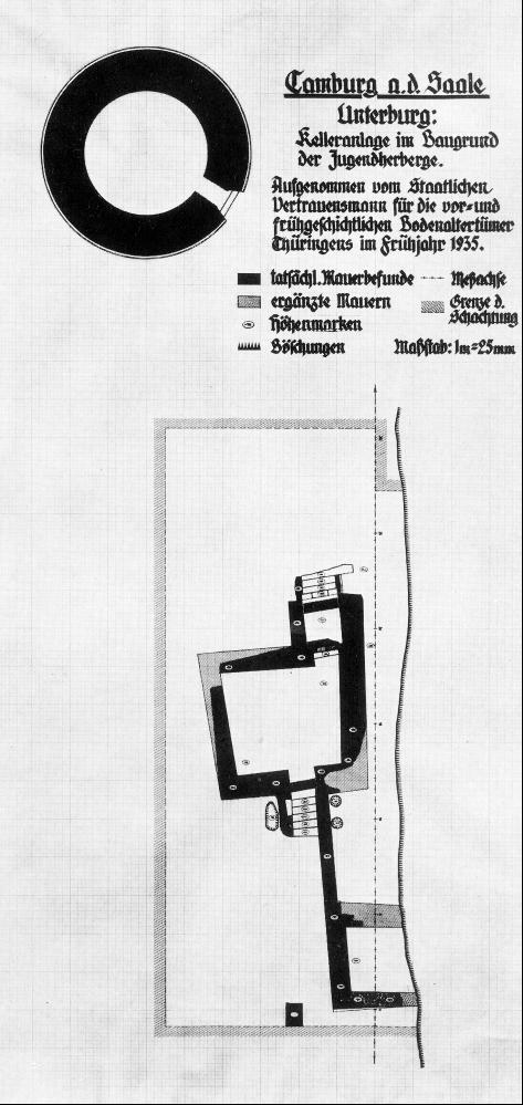 Lageskizze der 1935 ergrabenen Gebäudereste (nach Naumann 1969).